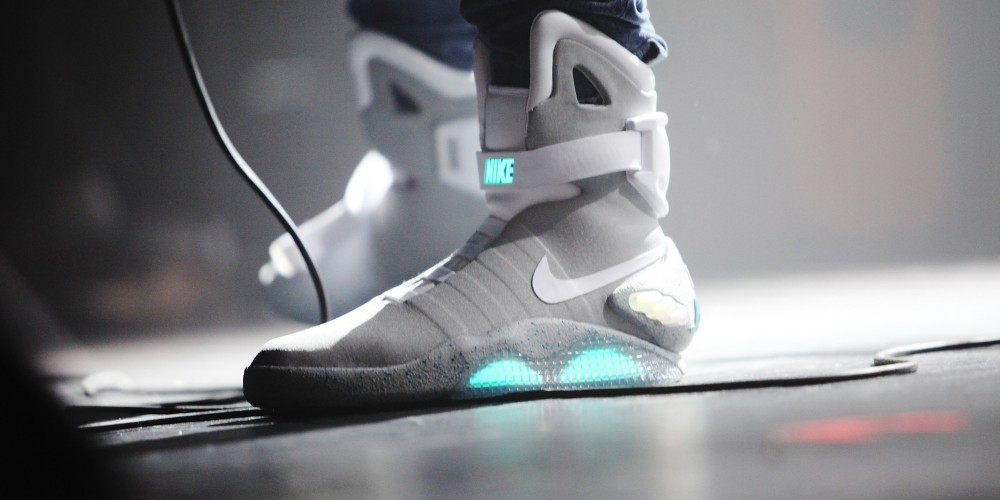 """NEW YORK, NY - OCTOBER 26:  Theophilus London wears Nike MAG """"Back to the Future"""" sneakers during his performance onstage at Terminal 5 on October 26, 2011 in New York City.  (Photo by Roger Kisby/Getty Images)"""